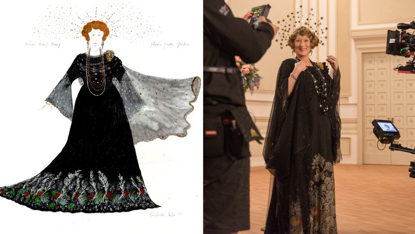 Consolata Boyle's sketch, left,  and the dress as seen in the film.