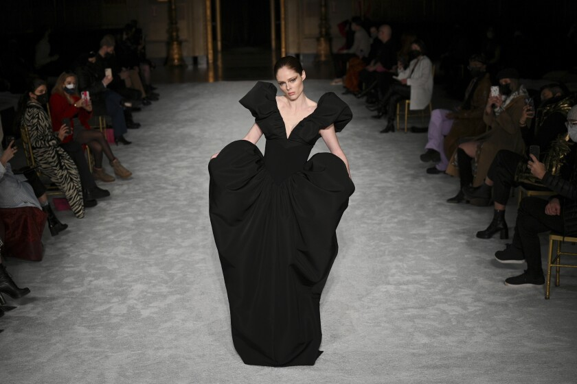 Model Coco Rocha walks the runway at the Christian Siriano Fall/Winter 2021 at Gotham Hall during New York Fashion Week on Thursday, Feb. 25, 2021, in New York. (Photo by Evan Agostini/Invision/AP)