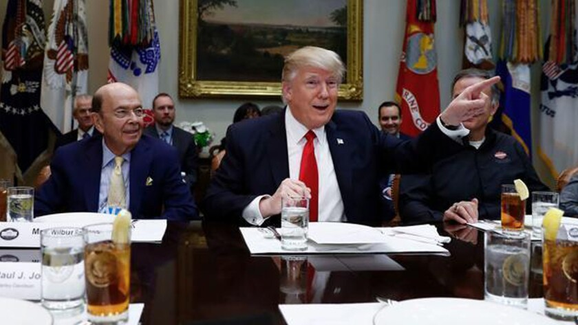 President Trump meets with business leaders at the White House Friday.