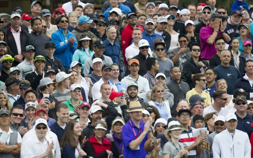 Final round of the Farmers Insurance Open at Torrey Pines. The Gallery on the 18th.