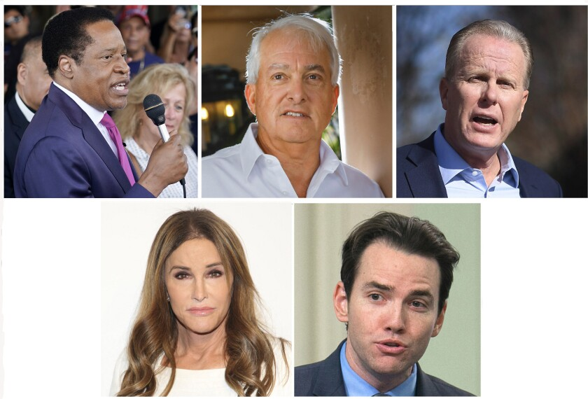 A collage of photos of five candidates for governor