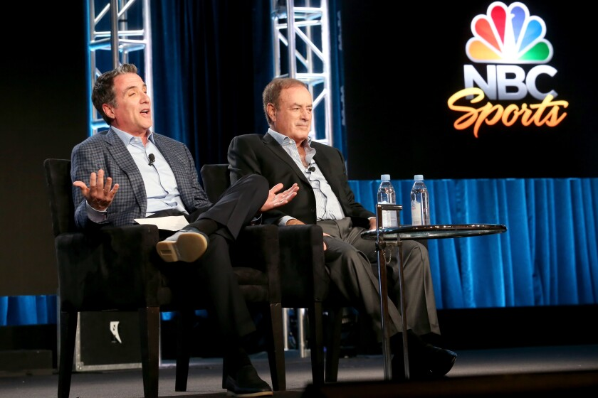 Fred Gaudelli, left, and Al Michaels onstage during the NBCUniversal portion of the 2018 Winter Television Critics Association Press Tour on Jan. 9, 2018.