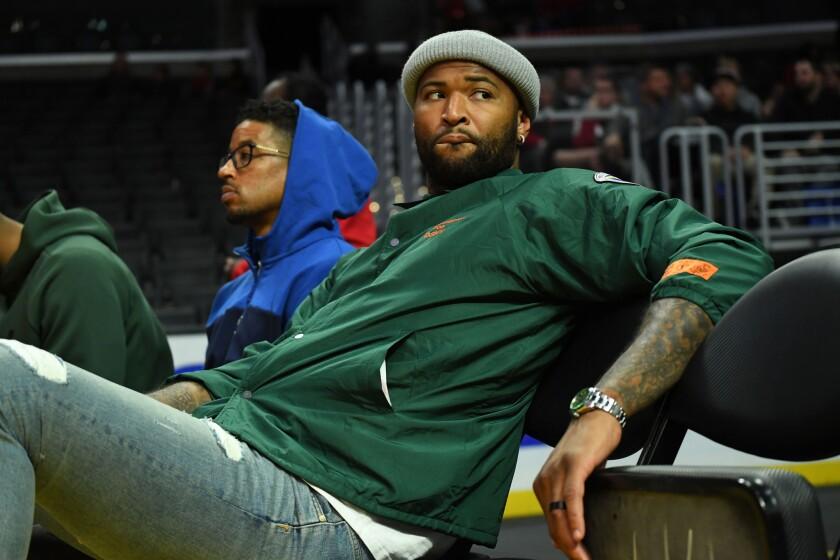DeMarcus Cousins attends a men's basketball game between USC and LSU.