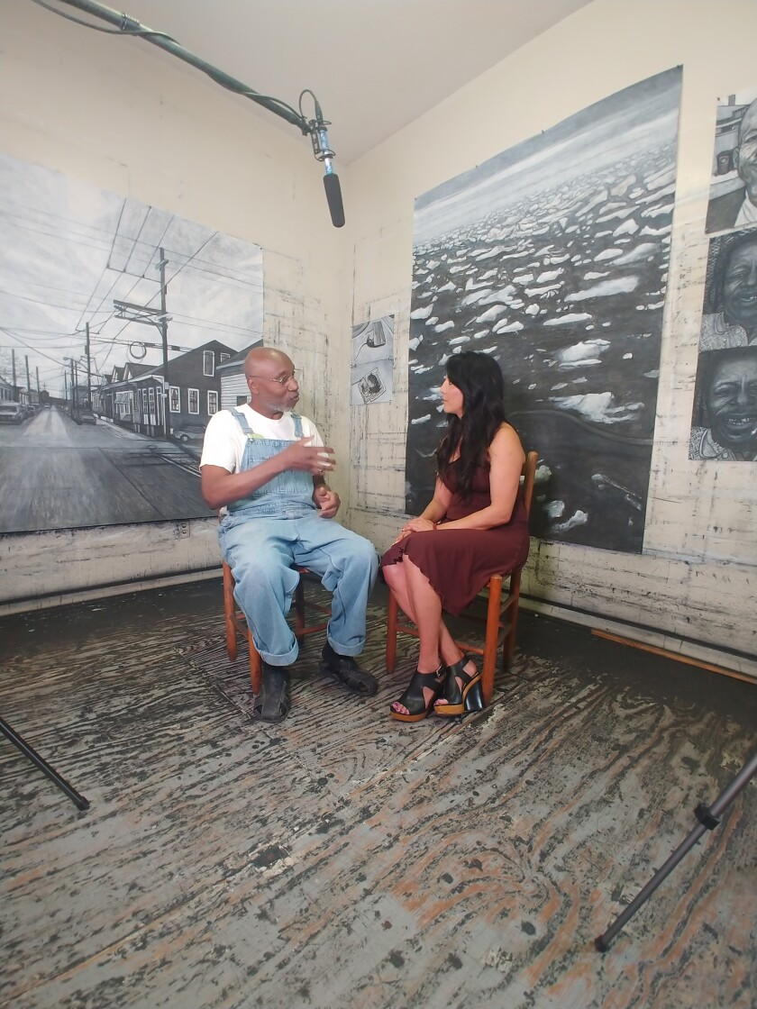 "Ruth-Ann Thorn interviewed New Orleans artist Willie Birch for an episode of her docuseries ""Art of the City."""