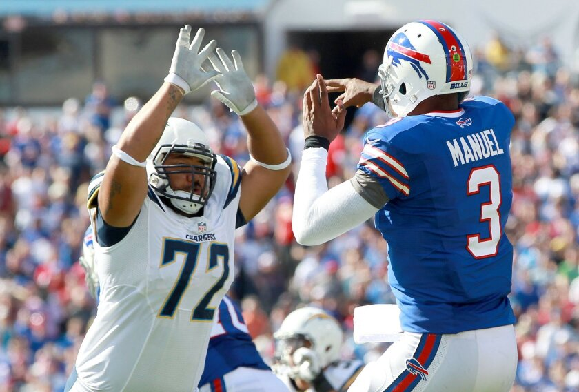 The San Diego Chargers vs. The Buffalo Bills at Ralph Wilson Stadium. San Diego Chargers defensive end Tenny Palepoi (72) rushes Buffalo Bills quarterback EJ Manuel (3) in the fourth quarter.