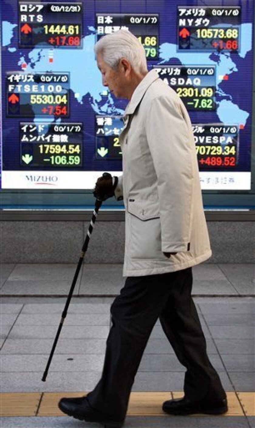 An elderly man walks past the electronic stock indicator in front of a securities firm in Tokyo, Japan, Thursday, Jan. 7, 2010. Japan's Nikkei stock index has fallen as investors locked in profits following a three-day rally, while shares in struggling Japan Airlines Corp. plunged nearly 10 percent on a report forecasting massive losses. The benchmark Nikkei 225 stock average declined 49.79 points, or 0.5 percent, to close at 10,681.66 on Thursday, remaining at a 15-month high. (AP Photo/Koji Sasahara)