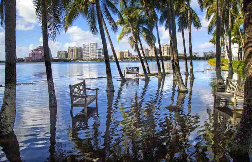 Flooding in Palm Beach, Fla., caused by a high tide