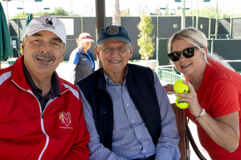 Ken Stuart, Roy Emerson and Chris Garber look forward to the annual Roy Emerson Adoption Guild Tennis Classic.