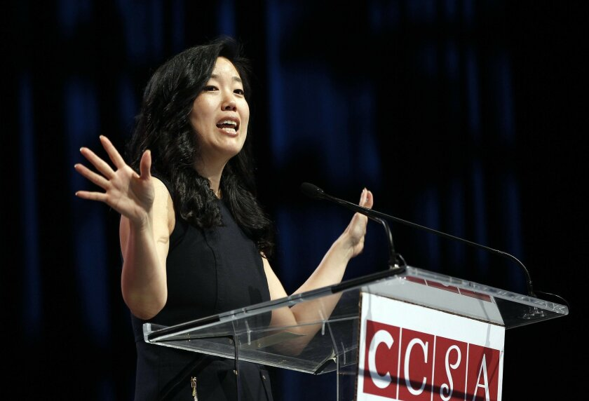 Rhee spoke to educators gathered at the California Charter Schools Association conference at San Diego's Convention Cennter.