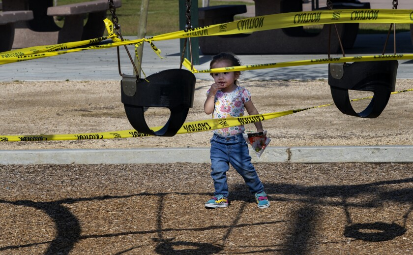 Adeline Hernandez, 2, of Riverside at Ryan Bonaminio Park.