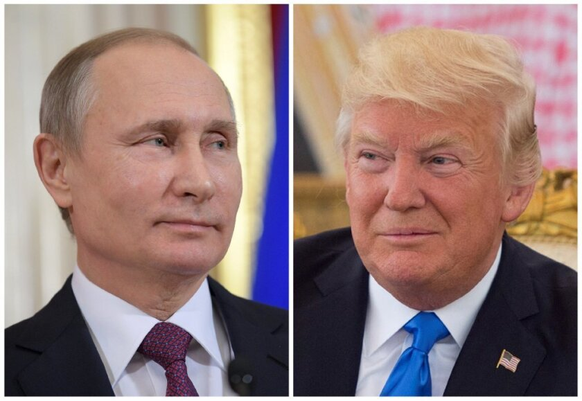 Russian President Vladimir Putin attends a news conference at the Kremlin in Moscow, Russia, on January 17, 2017 and U.S. President Donald Trump seen at a reception ceremony in Riyadh, Saudi Arabia, on May 20, 2017, as seen in this combination photo.
