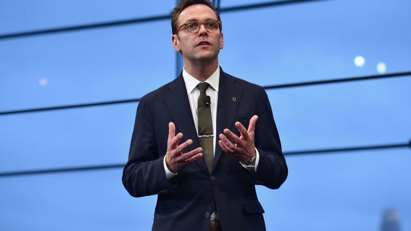 21st Century Fox CEO James Murdoch speaks at an event at Lincoln Center on April 19, 2017, in New York City. Glass Lewis & Co. is recommending he not be reelected to the board of electric carmaker Tesla Inc.