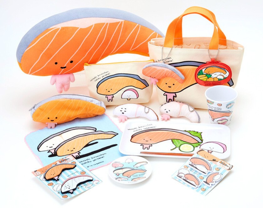 Shown are some of the Sanrio products featuring new character Kirimi-chan, a fillet of salmon.