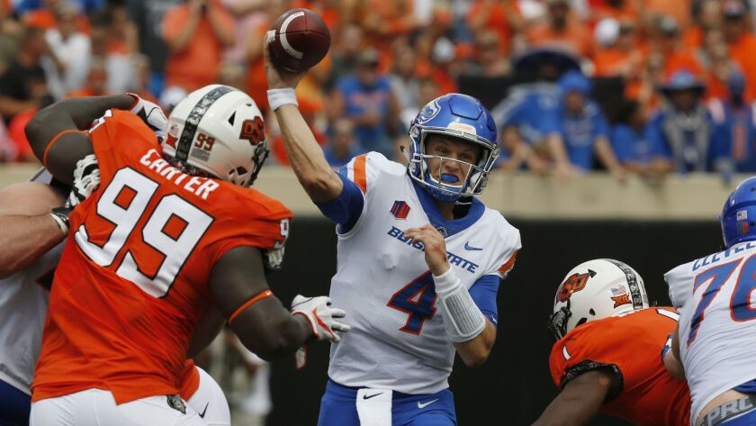 Boise State quarterback Brett Rypien passes during an NCAA college football game between Boise State and Oklahoma State last month in Stillwater, Okla.