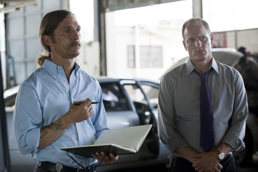 "Matthew McConaughey and Woody Harrelson in HBO's ""True Detective."""