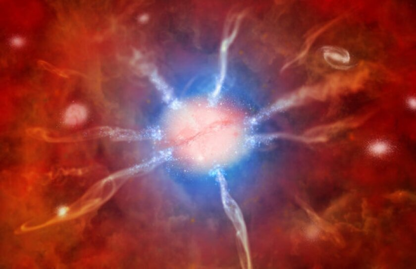 An artist's depiction of the center of the Phoenix cluster. Hot gas is red; cooler gas, blue. Newly formed stars are in the outer part of the galaxy.