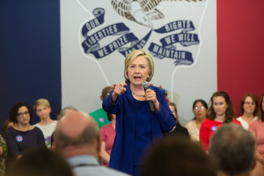 Hillary Rodham Clinton addresses supporters at an organizational rally in Iowa City, Iowa.