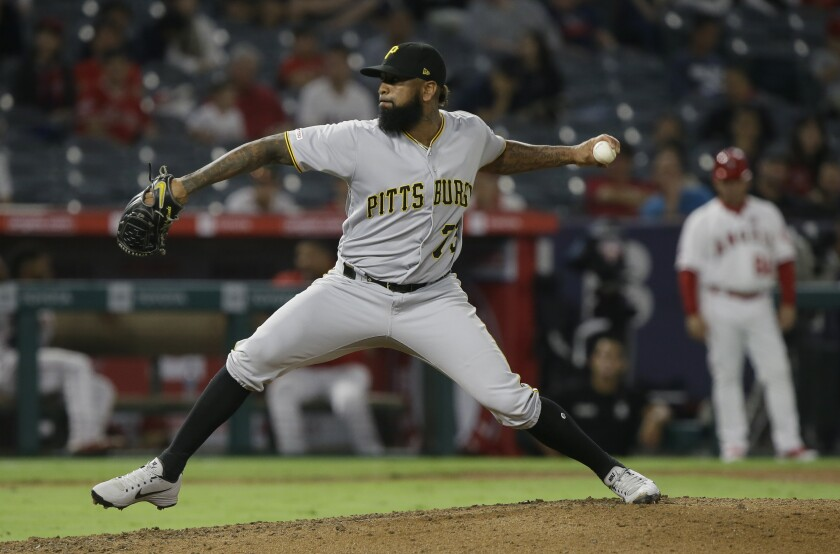 Pittsburgh Pirates closer Felipe Vazquez throws against the Angels on Monday.