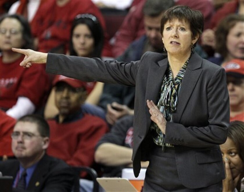 Notre Dame head coach Muffet McGraw signals her players during the second half of an NCAA college basketball game against Rutgers in Piscataway, N.J., Tuesday, Jan. 31, 2012. Notre Dame won 71-41. (AP Photo/Mel Evans)