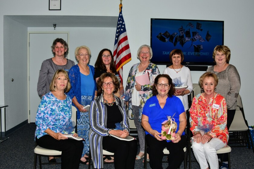 """The Assistance League of Inland North County installed its executive board for 2019-2020. Standing (from left): Judy Davis, Assisteens; Pat Kellenbarger, Public Relations; Liz Kellen, Education; Connie Etheridge, Operations; Linda Zullinger, lst VP Philanthropic Programs; and Melinda Jarrell, 2nd VP Resource Development. Sitting (from left): Nancy Zampelli, 3rd VP Membership; Jeanne Bente, Treasurer; Diana Chambers, President; and Marjorie Berend, Recording Secretary. The mission of this nonprofit group is to """"Transform Lives and Strengthen Communities."""" Visit assistanceleague.org/inland-north-county."""