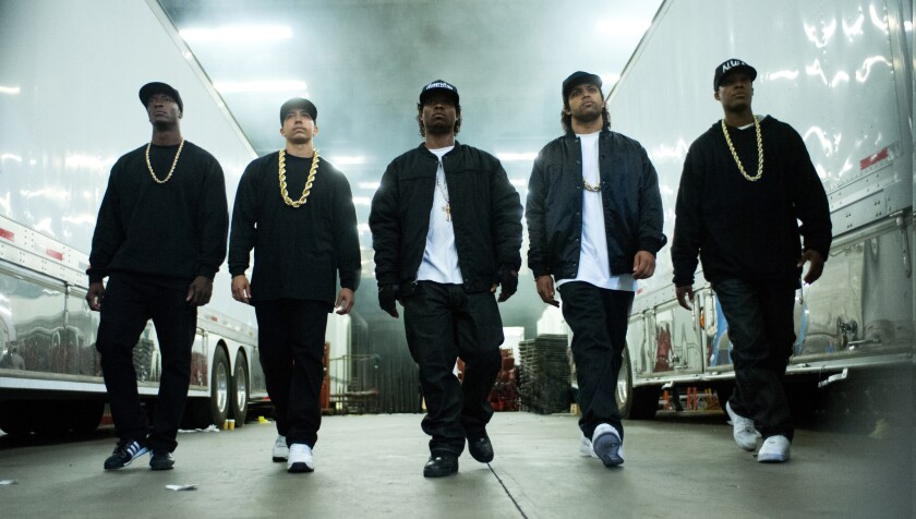 """The film """"Straight Outta Compton"""" follows the rise of the influential rap group N.W.A. It stars, from left, Aldis Hodge, Neil Brown Jr., Jason Mitchell, O'Shea Jackson Jr. and Corey Hawkins."""