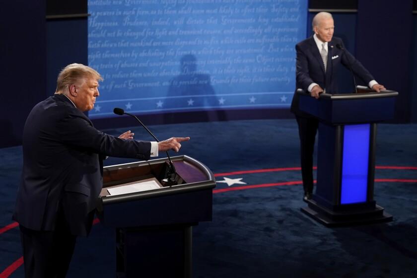 President Trump points during a debate against Democratic presidential candidate Joe Biden