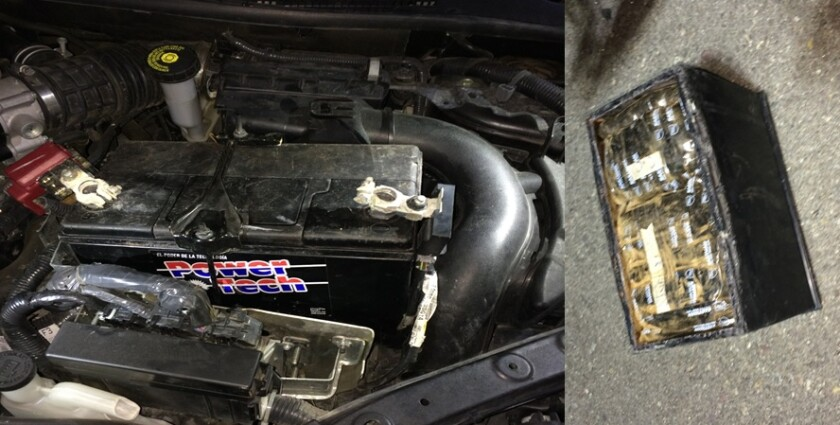 Border Patrol agents allegedly found more than 14 pounds of heroin and fentanyl hidden inside a false battery compartment Wednesday evening at an Interstate 8 checkpoint in Campo.
