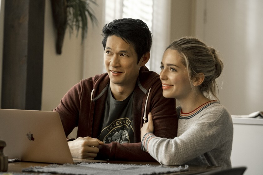 "Harry Shum Jr. and Jessica Rothe in the movie ""All My Life."""