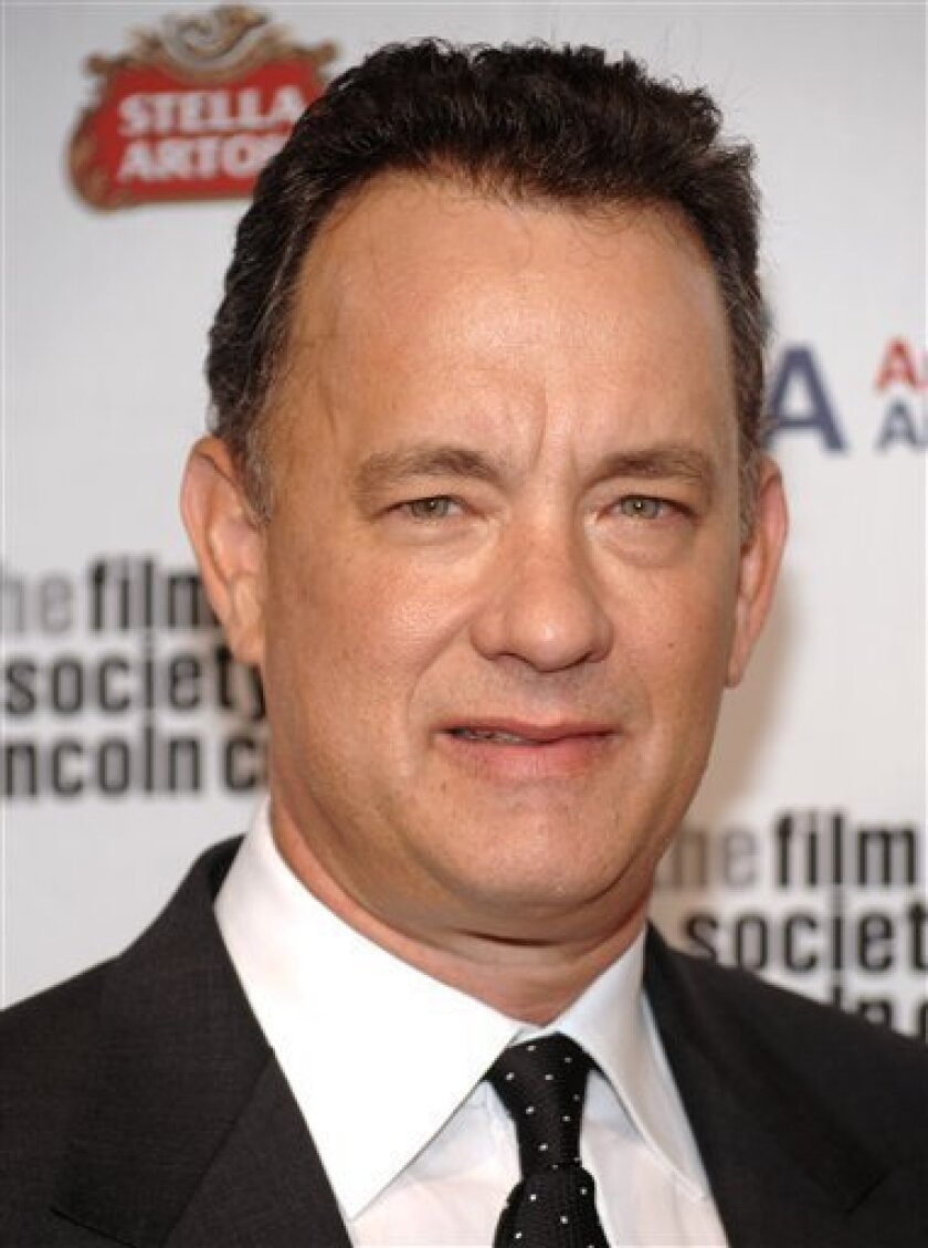 FILE - In this April 27, 2009 file photo, Tom Hanks attends The Film Society of Lincoln Center gala tribute to honoring him at Alice Tully Hall in New York. (AP Photo/Evan Agostini, file)