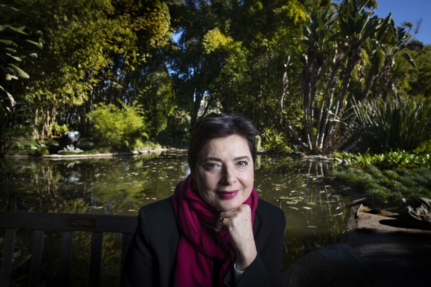 """Isabella Rossellini pauses at the Huntington Library, Art Collections, and Botanical Gardens in San Marino. Her """"Link Link Circus"""" opens Friday at the Broad Stage."""