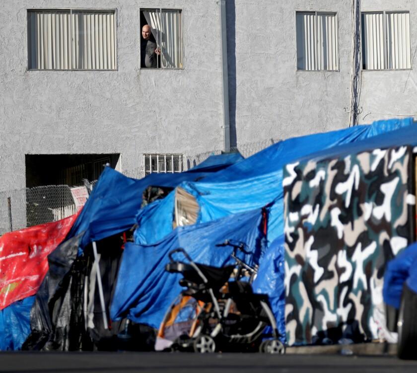 An encampment on a sidewalk in the Los Feliz neighborhood.