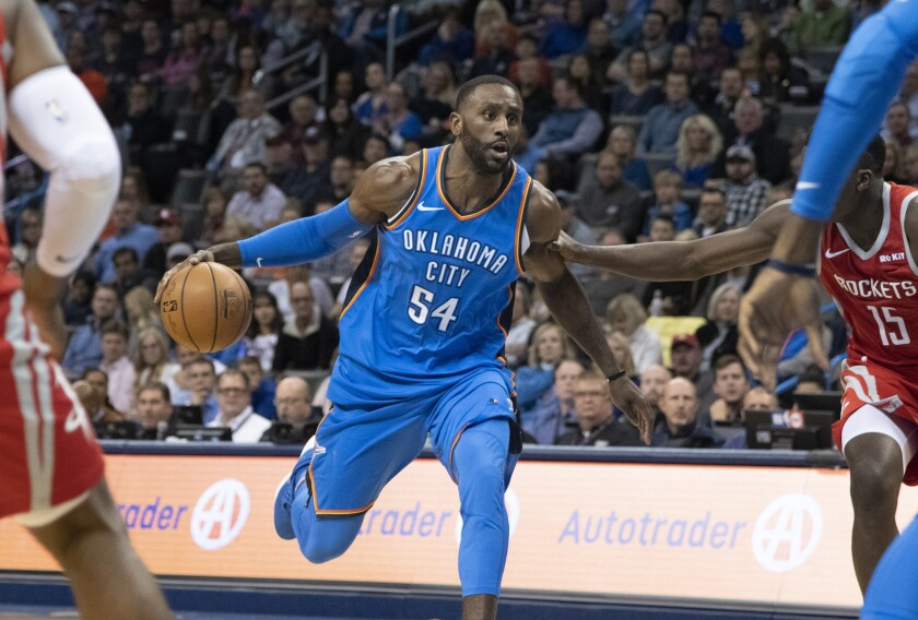Patrick Patterson, then with the Oklahoma City Thunder, drives against the Houston Rockets during a game last season.