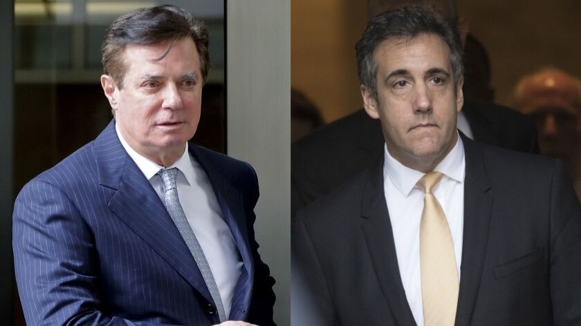 In these 2018 file photos, Paul Manafort leaves federal court in Washington, left and attorney Micha