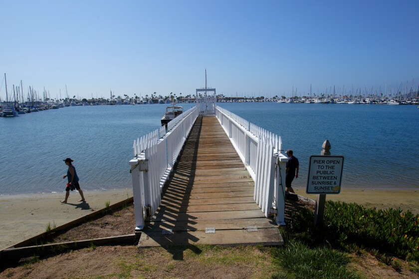 The Wyatt Pier in Shelter Island was built in the 1940s and is one of four residential piers located along the La Playa Trail.