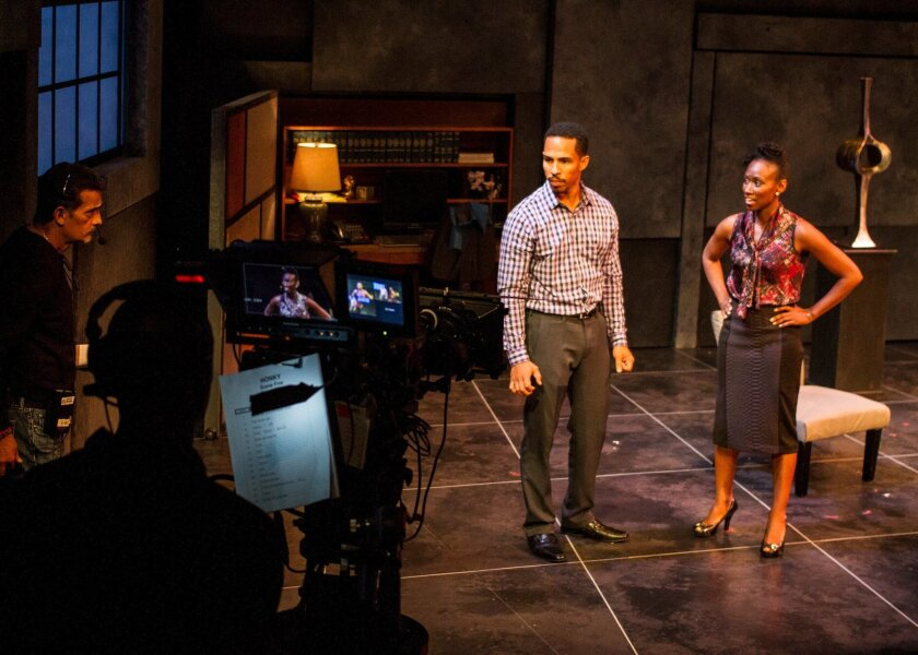 """""""Honky"""" cast members Gerard Joseph and Tanya Alexander onstage at San Diego Rep during a filmed performance of the play in 2014."""