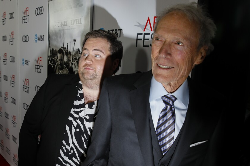 "Paul Walter Hauser and Clint Eastwood arrive for the AFI Fest premiere of ""Richard Jewell."""