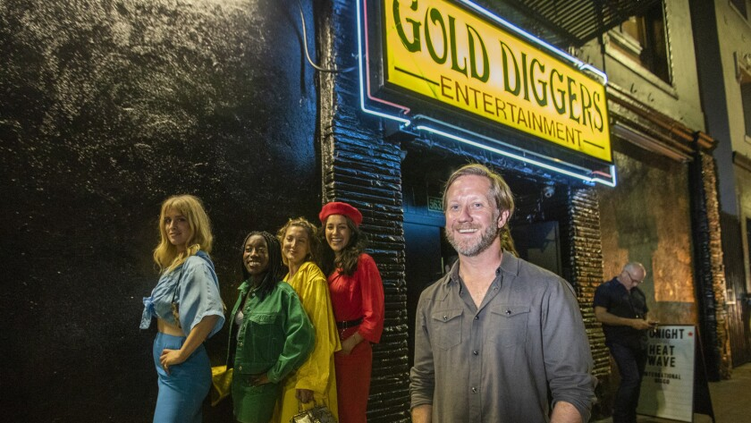 Gold Diggers owner Dave Neupert in the front of the notoriously tawdry strip club, now a home base for underground disco, with a new boutique hotel and recording complex to keep the party going.