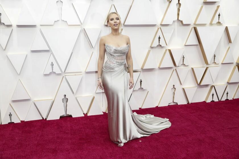 Scarlett Johanssonarrives at the 92nd Academy Awards.
