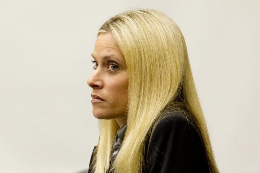 Deputy District Attorney, Allison Worden (Debow) sits in court before Judge Louis Hanoian on Feb. 6, 2013. Worden was convicted of destroying or altering a traffic citation.