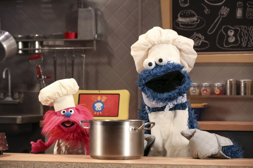 """Photo: MONSTER FOODIES: """"Books"""", """"Counting"""" & """"Counting""""; Season 48; Sesame Street Production; Director: Benjamin Lehmann; television production photographed: Friday, March 31, 2017; 9:00 AM at Kaufman-Astoria Studios; Astoria, New York; Photograph: © 2017 Richard Termine. PHOTO CREDIT - Richard Termine User Upload Caption: Sesame Street is doing its part to help youth with their resiliency after trauma. Children evolve and the iconic children's Muppet characters are evolving with them. - Original Credit: Richard Termine"""