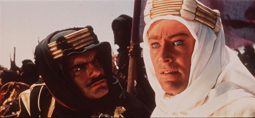 """Peter O'Toole, right, and Omar Sharif, costar in the epic 1962 historical drama """"Lawrence of Arabia."""""""