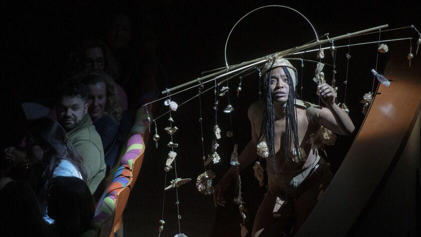 "As part of LA Phil's Fluxus festival, dancer Brooke Shepard performs Yoko Ono's ""Dance Piece IX: A"""