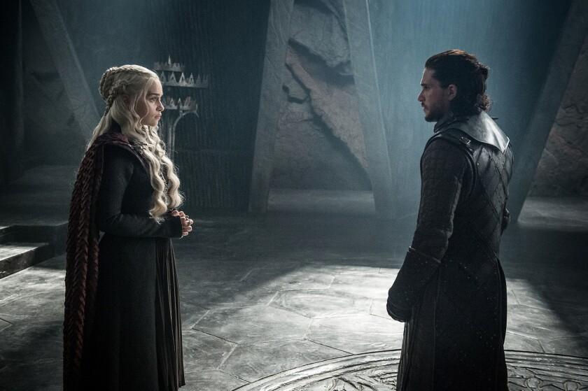 "Emilia Clarke as Daenerys Targaryen and Kit Harington as Jon Snow in the ""Game ofThrones"" episode ""T"