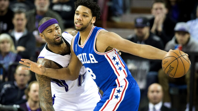 Jahlil Okafor, right, and the 76ers have won two of their past three games, the only blemish being a loss to DeMarcus Cousins and the Kings on Wednesday.