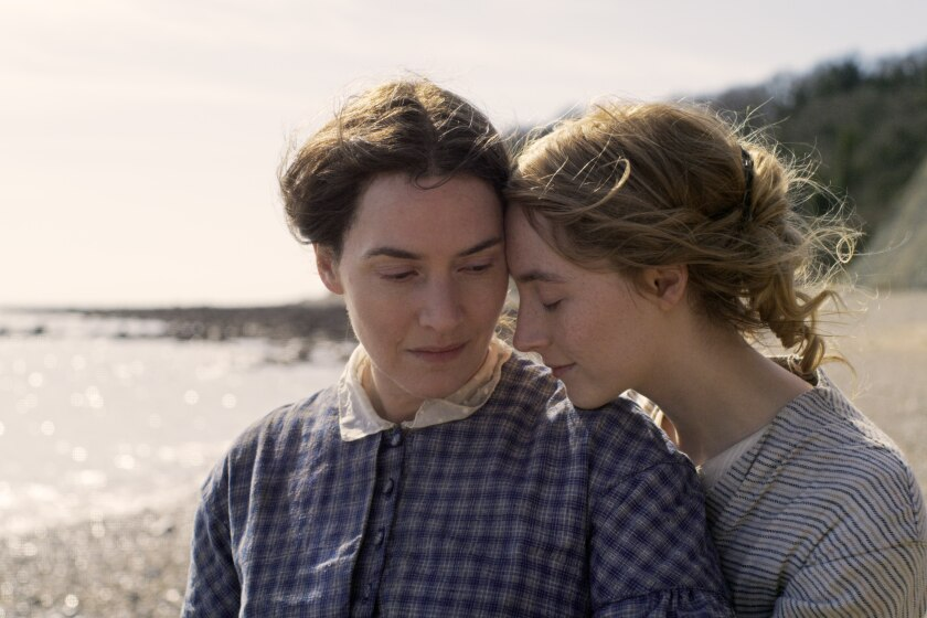"Kate Winslet and Saoirse Ronan in a scene from ""Ammonite."""