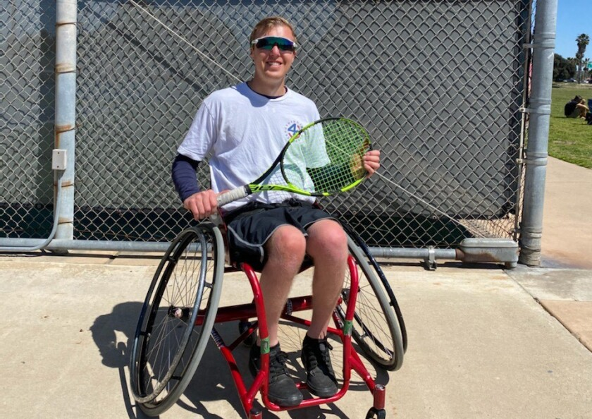 Daniel Lombardo, 26, of Oceanside in an adaptive wheelchair tennis chair