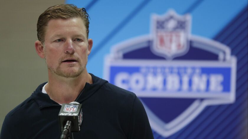 Rams general manager Les Snead speaks during a news conference at the NFL scouting combine in March 2018.
