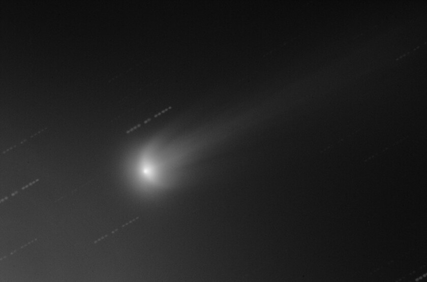 This image taken Nov. 16 shows ISON's atmosphere with two wing-like features resembling the letter U. For orientation, the comet's nucleus position is shown as a bright spot in the center.