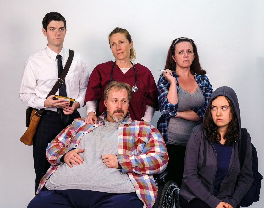 Craig Jorczak, Judy Bauerlein, Melissa Fernandes, Erin McIntosh and Andrew Oswald (front) in Cygnet Theatre's 'The Whale,' directed by Shana Wride.
