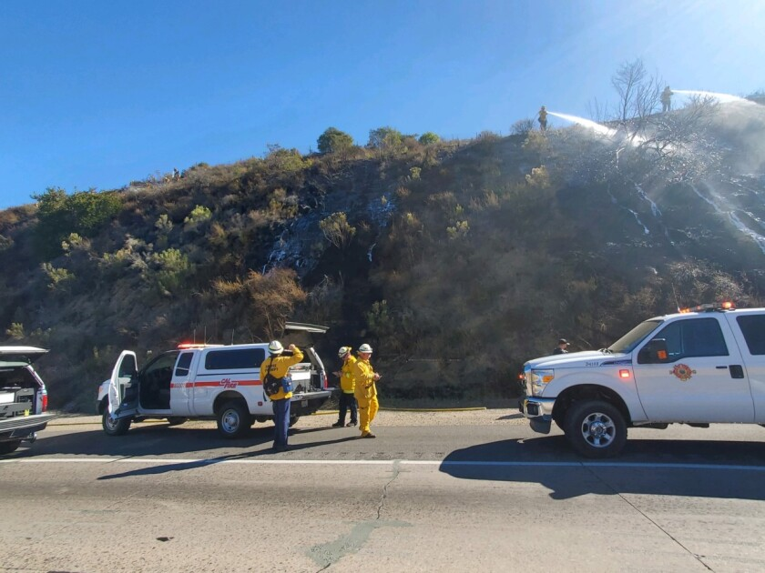 A fire near Interstate 8 in the Lakeside area charred about two acres Sunday morning.